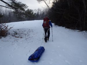 Towing a pulk (sled)